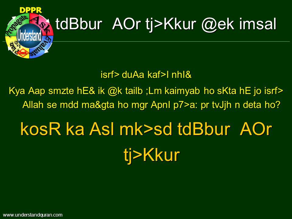 tdBbur AOr tj>Kkur @ek imsal isrf> duAa kaf>I nhI& Kya Aap smzte hE& ik @k tailb ;Lm kaimyab ho sKta hE jo isrf> Allah se mdd ma&gta ho mgr ApnI p7>a: pr tvJjh n deta ho.