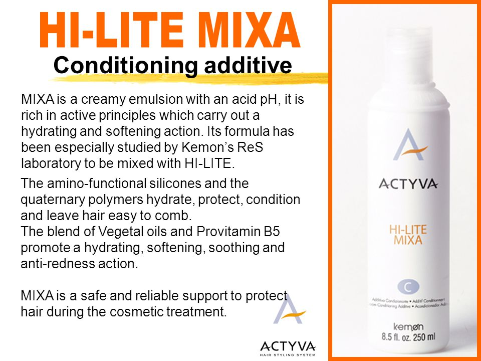 Complementary services With Conditioning additive 1) As a toner on streaks and sun kissed effects 2) How to personalize the HI-LITE tones