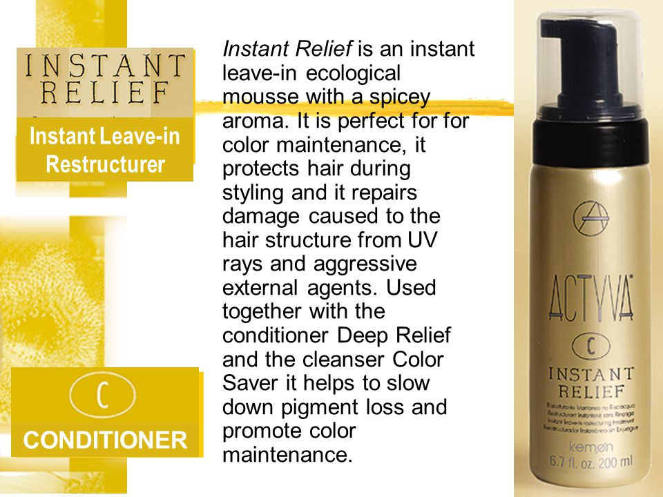 Rapid Restructurer CONDITIONER The correct balance of active principles contained within Deep Relief, is perfect for nourishing and conditioning damaged and sensitized hair.