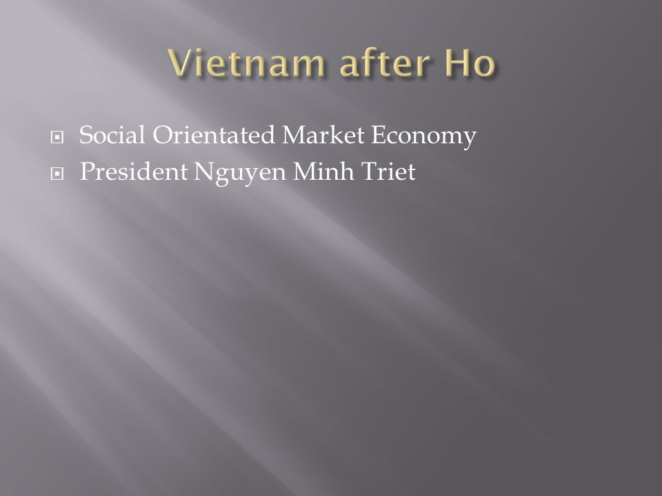  Social Orientated Market Economy  President Nguyen Minh Triet