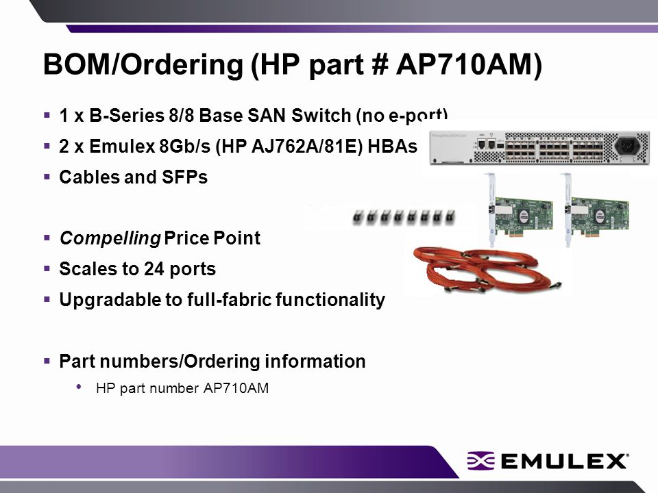BOM/Ordering (HP part # AP710AM)  1 x B-Series 8/8 Base SAN Switch (no e-port)  2 x Emulex 8Gb/s (HP AJ762A/81E) HBAs  Cables and SFPs  Compelling Price Point  Scales to 24 ports  Upgradable to full-fabric functionality  Part numbers/Ordering information HP part number AP710AM