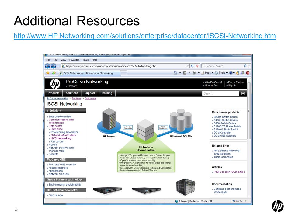 20 Additional Resources http://www.HP Networking.com/solutions/enterprise/datacenter/iSCSI-Networking.htm http://www.HP Networking.com/solutions/enterprise/datacenter/iSCSI-Networking.htm