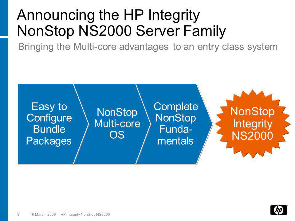 16 March, 2009 HP Integrity NonStop NS20008 Announcing the HP Integrity NonStop NS2000 Server Family Easy to Configure Bundle Packages NonStop Multi-core OS Complete NonStop Funda- mentals NonStop Integrity NS2000 Bringing the Multi-core advantages to an entry class system