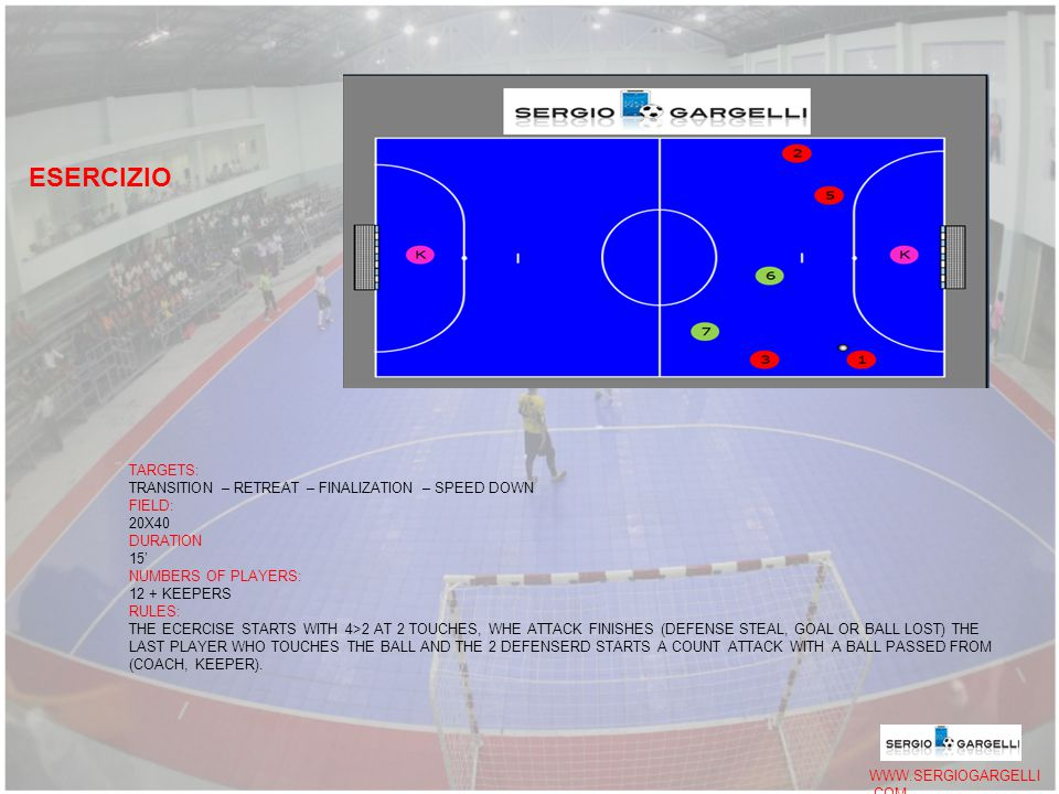 WWW.SERGIOGARGELLI.COM TARGETS: TRANSITION – RETREAT – FINALIZATION – SPEED DOWN FIELD: 20X40 DURATION 15' NUMBERS OF PLAYERS: 12 + KEEPERS RULES: THE ECERCISE STARTS WITH 4>2 AT 2 TOUCHES, WHE ATTACK FINISHES (DEFENSE STEAL, GOAL OR BALL LOST) THE LAST PLAYER WHO TOUCHES THE BALL AND THE 2 DEFENSERD STARTS A COUNT ATTACK WITH A BALL PASSED FROM (COACH, KEEPER).