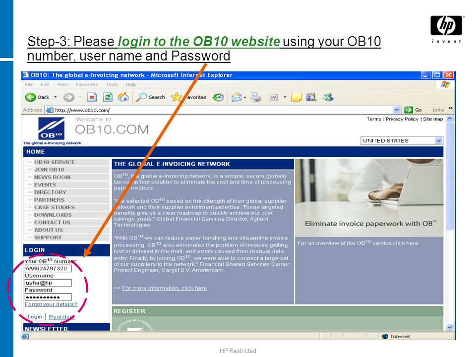 HP Restricted Step-3: Please login to the OB10 website using your OB10 number, user name and Password