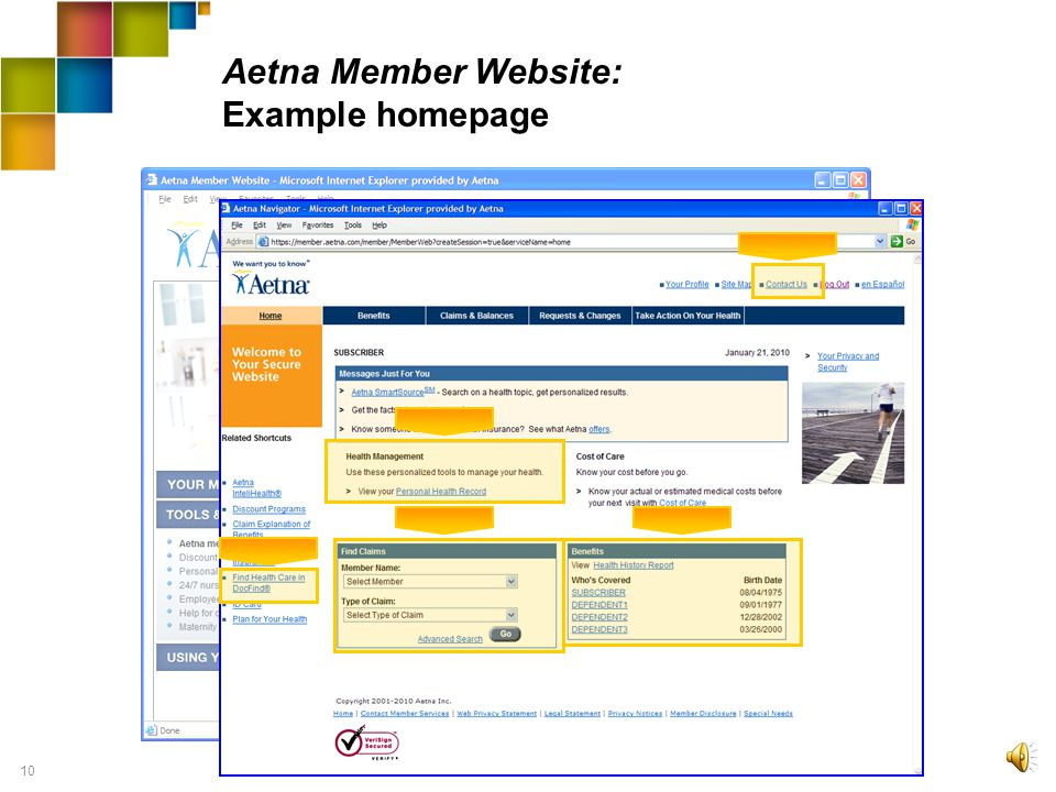 9 Tools & Programs: Aetna Member Website