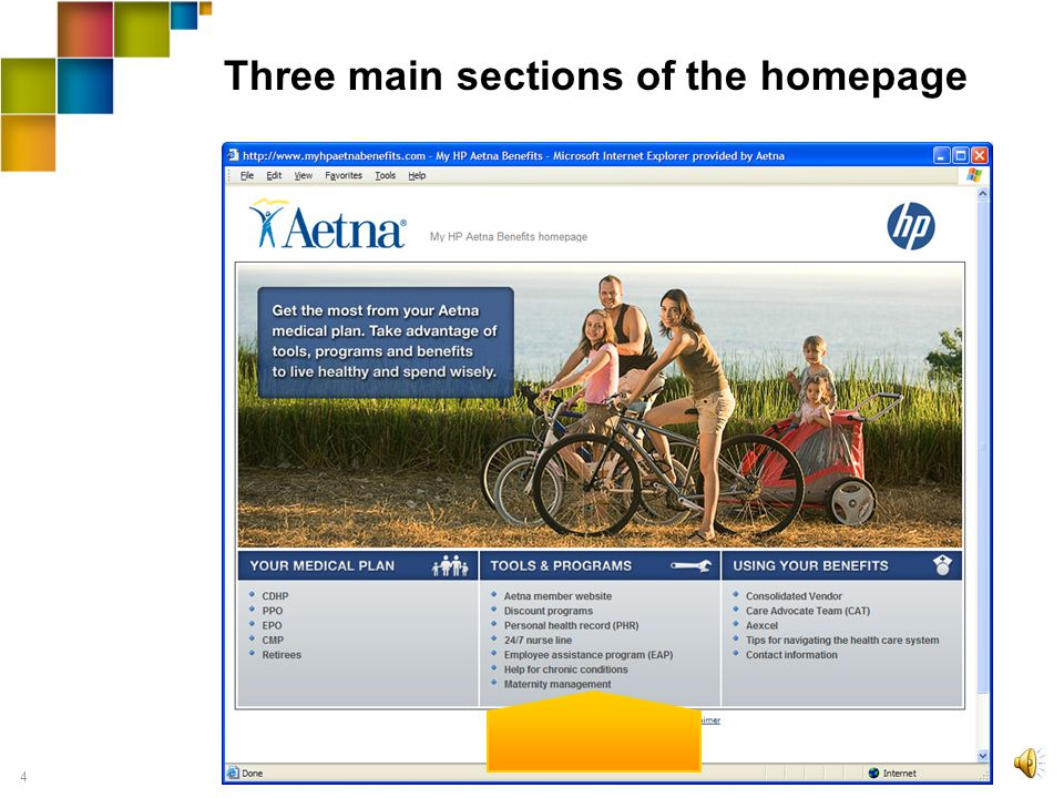 3 Three main sections of the homepage