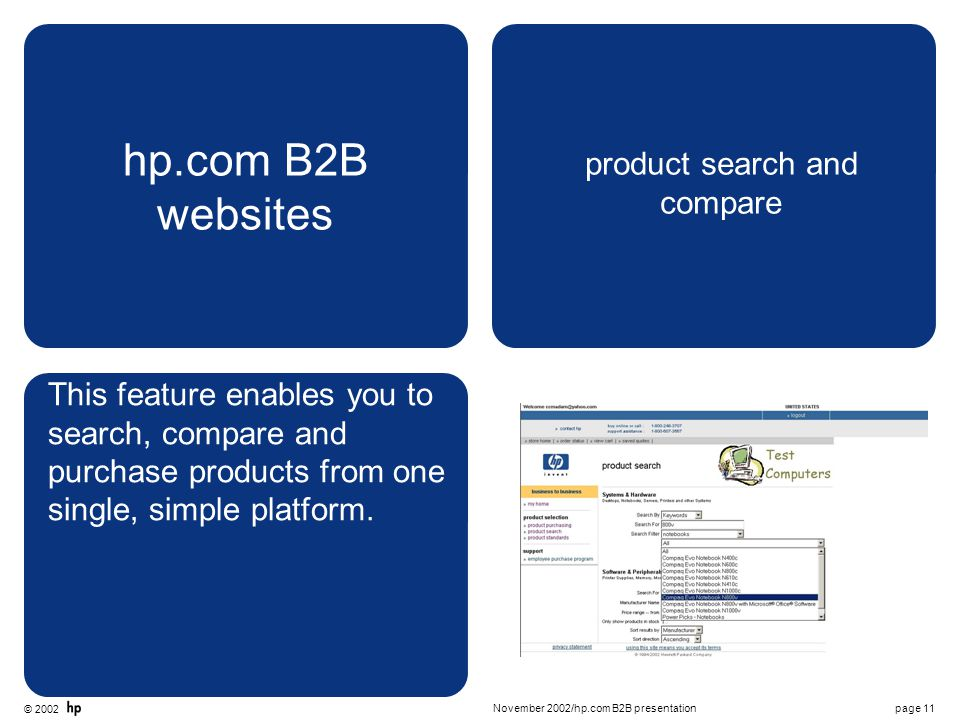 © 2002 page 11November 2002/hp.com B2B presentation hp.com B2B websites product search and compare This feature enables you to search, compare and purchase products from one single, simple platform.
