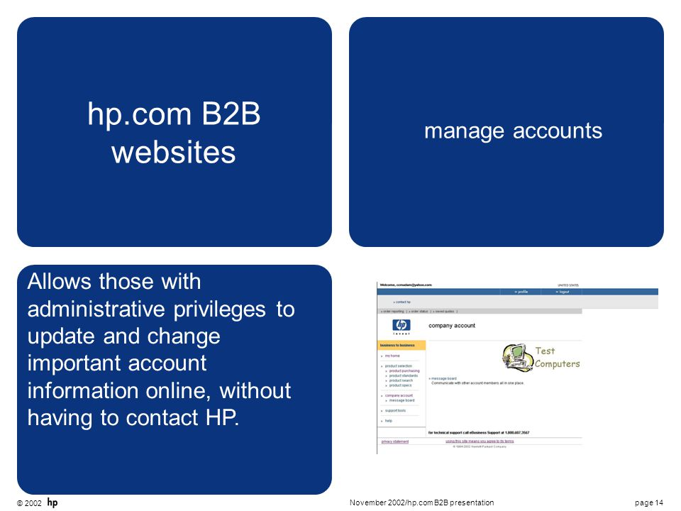 © 2002 page 14November 2002/hp.com B2B presentation hp.com B2B websites manage accounts Allows those with administrative privileges to update and change important account information online, without having to contact HP.