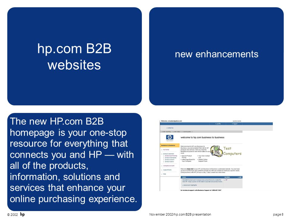 © 2002 page 9November 2002/hp.com B2B presentation hp.com B2B websites products, pricing and configurations Your website features pricing, products and configuration options specific to your agreement with HP.