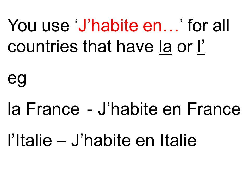 You use 'J'habite en…' for all countries that have la or l' eg la France - J'habite en France l'Italie – J'habite en Italie