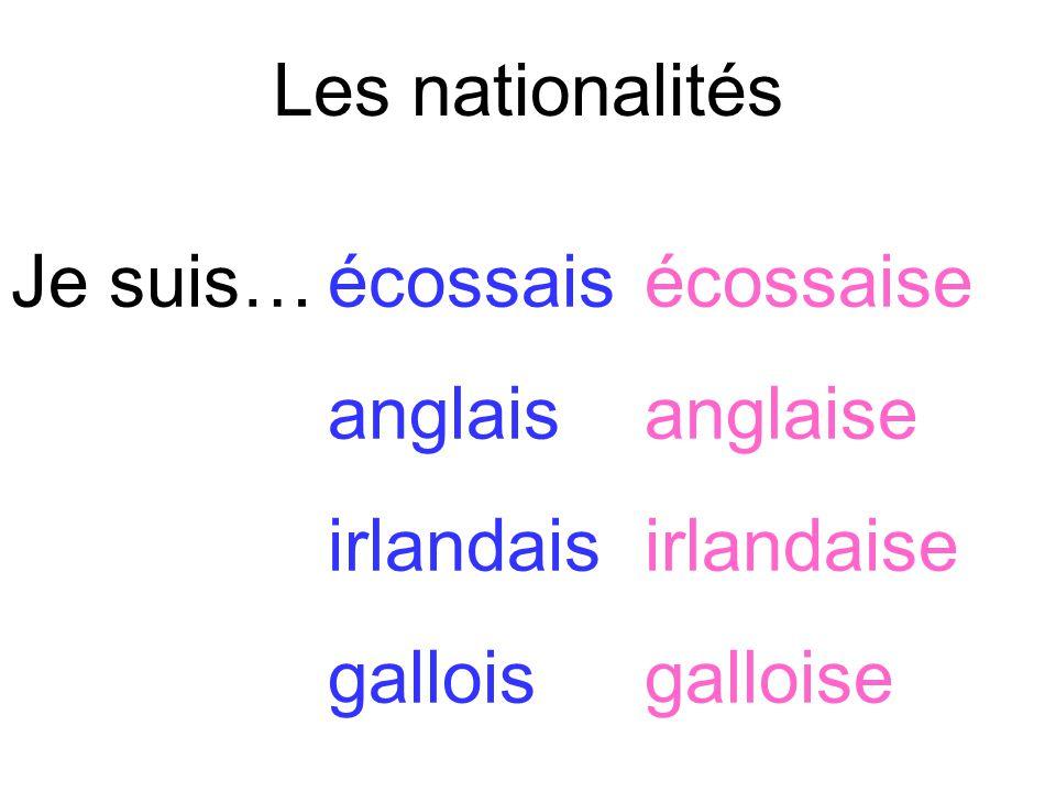 Les nationalités Je suis…écossaisécossaise anglaisanglaise irlandaisirlandaise galloisgalloise
