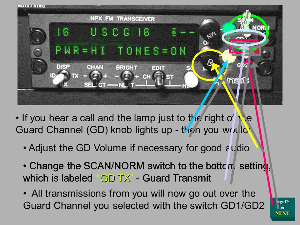 Choose your other operating channel with the CHANnel switch, in the common fashion for channel selection If you hear a call and the lamp immediately t