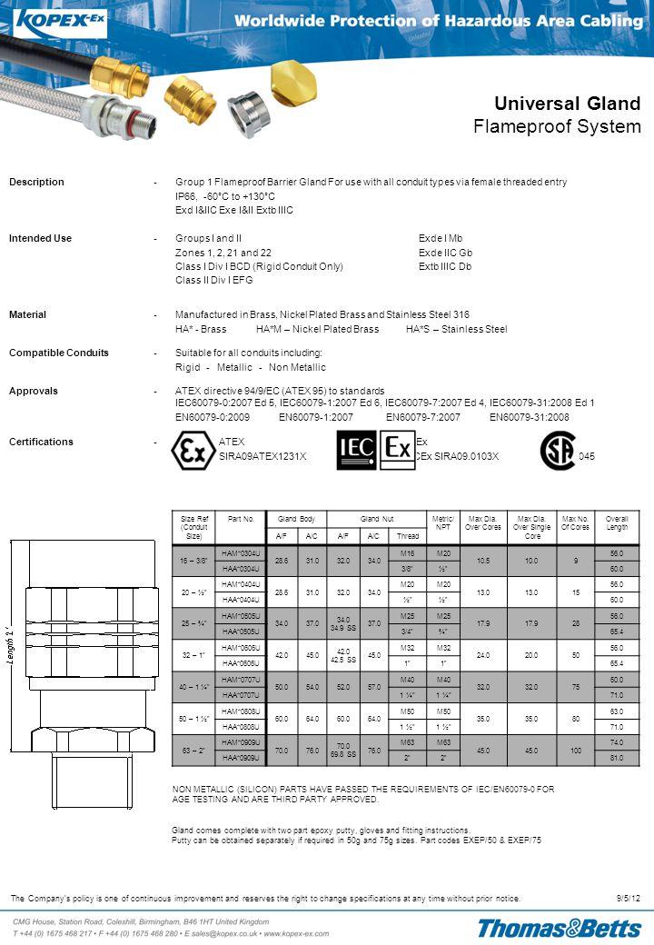 Universal Gland Flameproof System Size Ref (Conduit Size) Part No.Gland Body90° ElbowMetric/ NPT Max Dia.