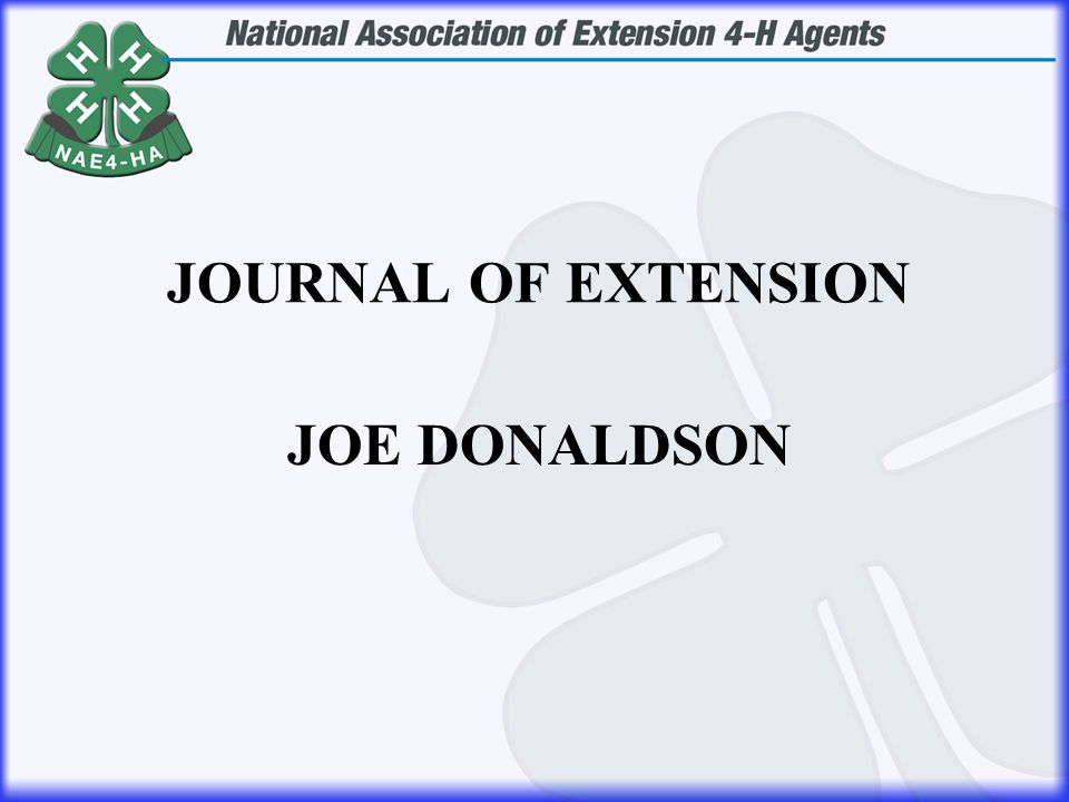 JOE DONALDSON JOURNAL OF EXTENSION