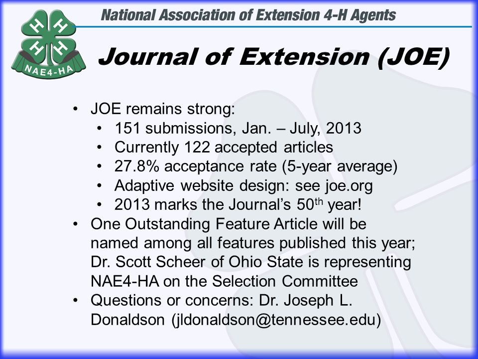 Journal of Extension (JOE) JOE remains strong: 151 submissions, Jan.