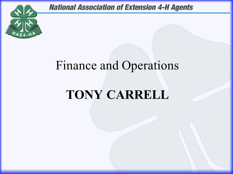 TONY CARRELL Finance and Operations