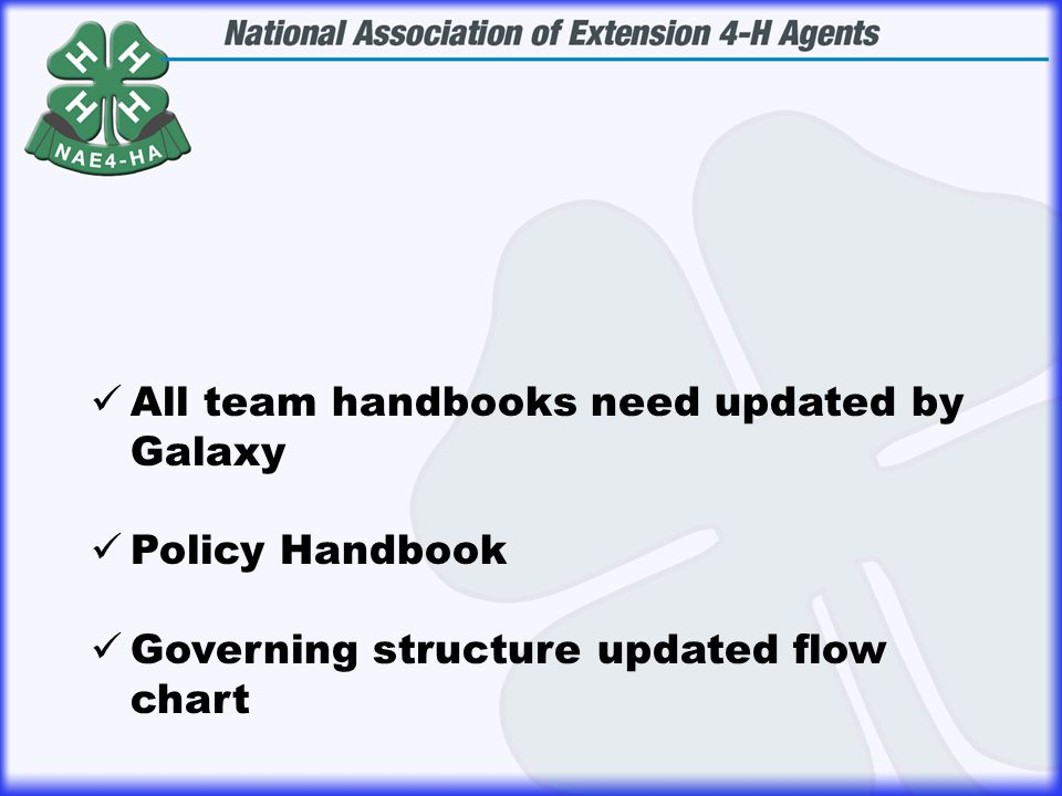 All team handbooks need updated by Galaxy Policy Handbook Governing structure updated flow chart