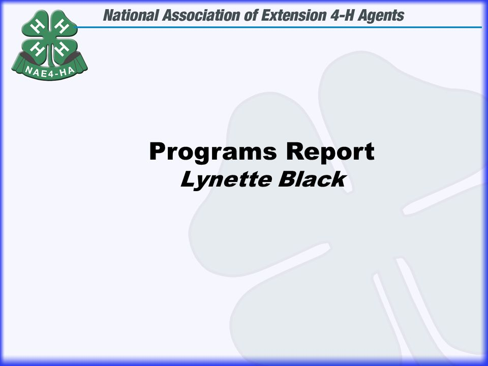 Programs Report Lynette Black