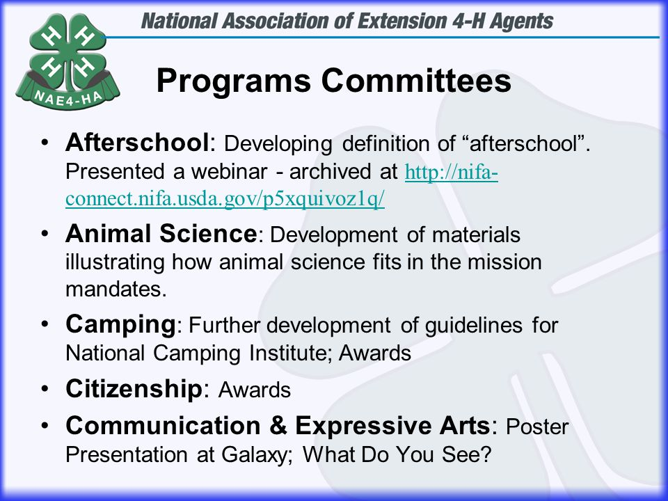 Programs Committees Afterschool: Developing definition of afterschool .
