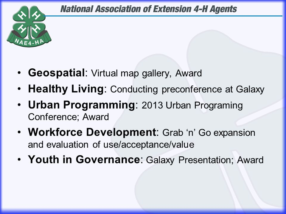Geospatial: Virtual map gallery, Award Healthy Living: Conducting preconference at Galaxy Urban Programming: 2013 Urban Programing Conference; Award W