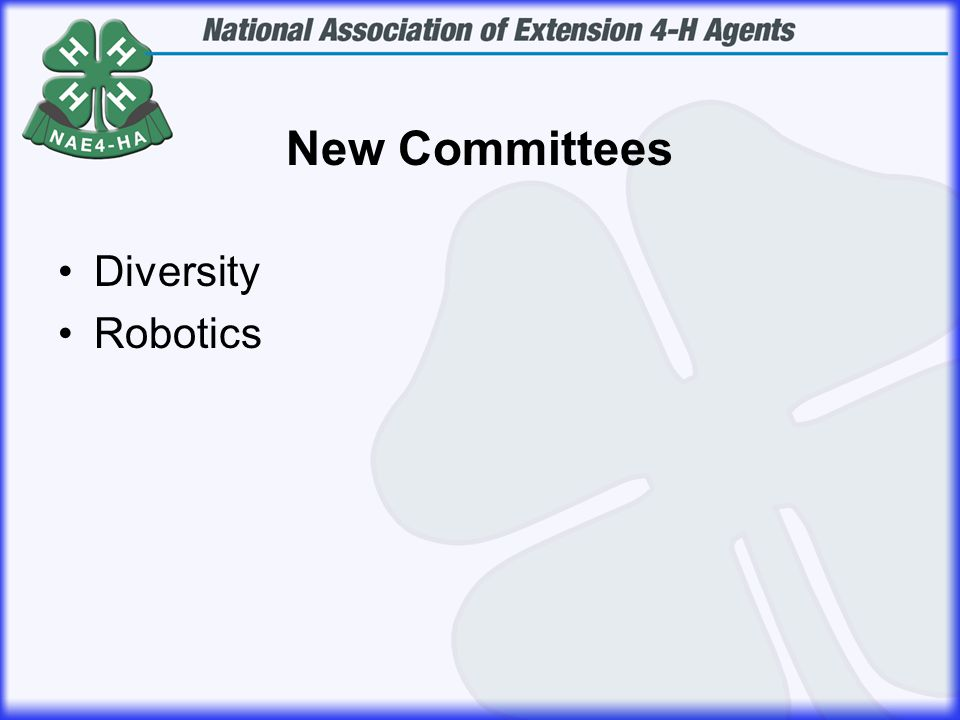 New Committees Diversity Robotics