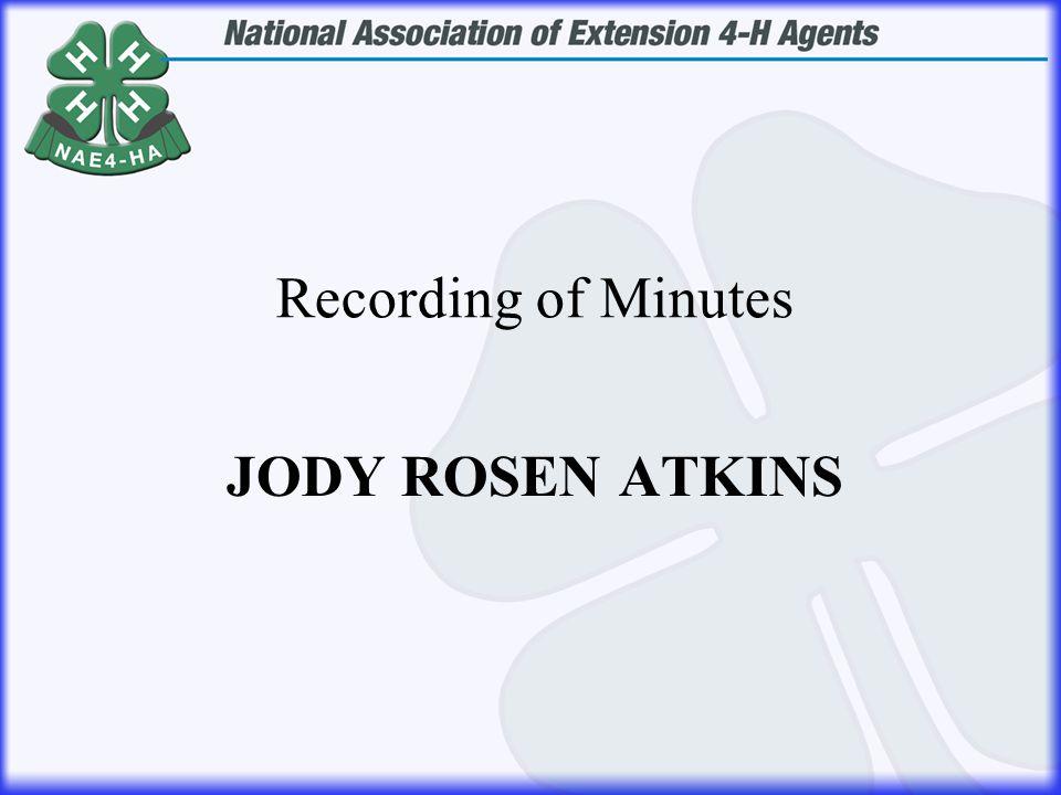 JODY ROSEN ATKINS Recording of Minutes