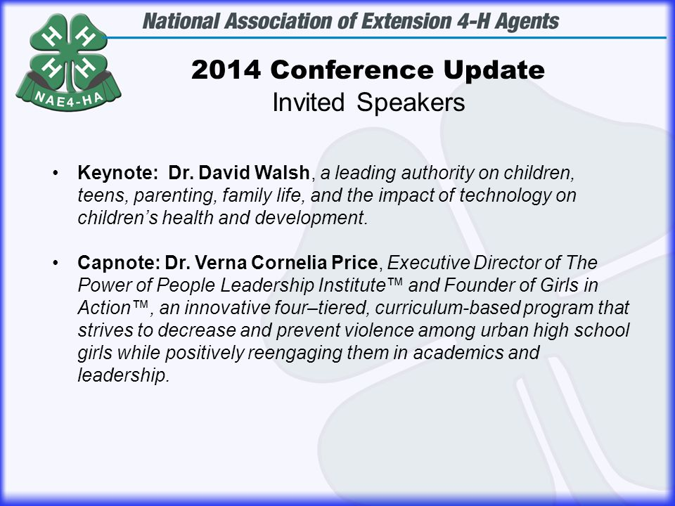 2014 Conference Update Invited Speakers Keynote: Dr.