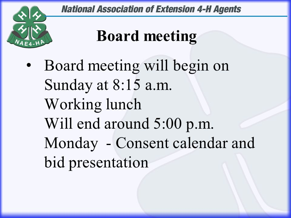 Board meeting will begin on Sunday at 8:15 a.m. Working lunch Will end around 5:00 p.m.