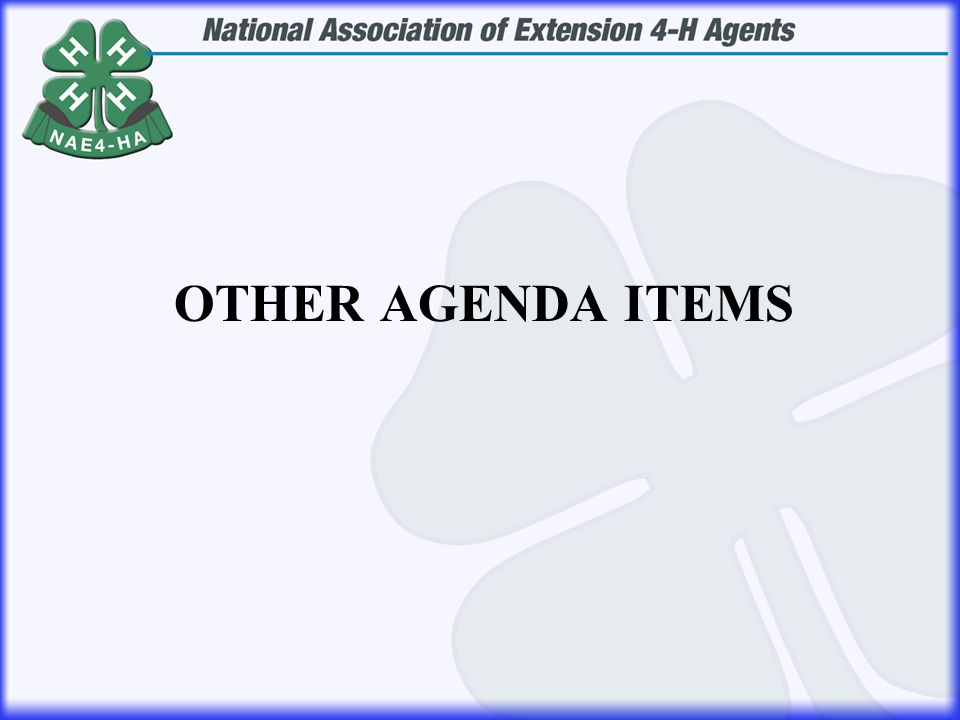 OTHER AGENDA ITEMS