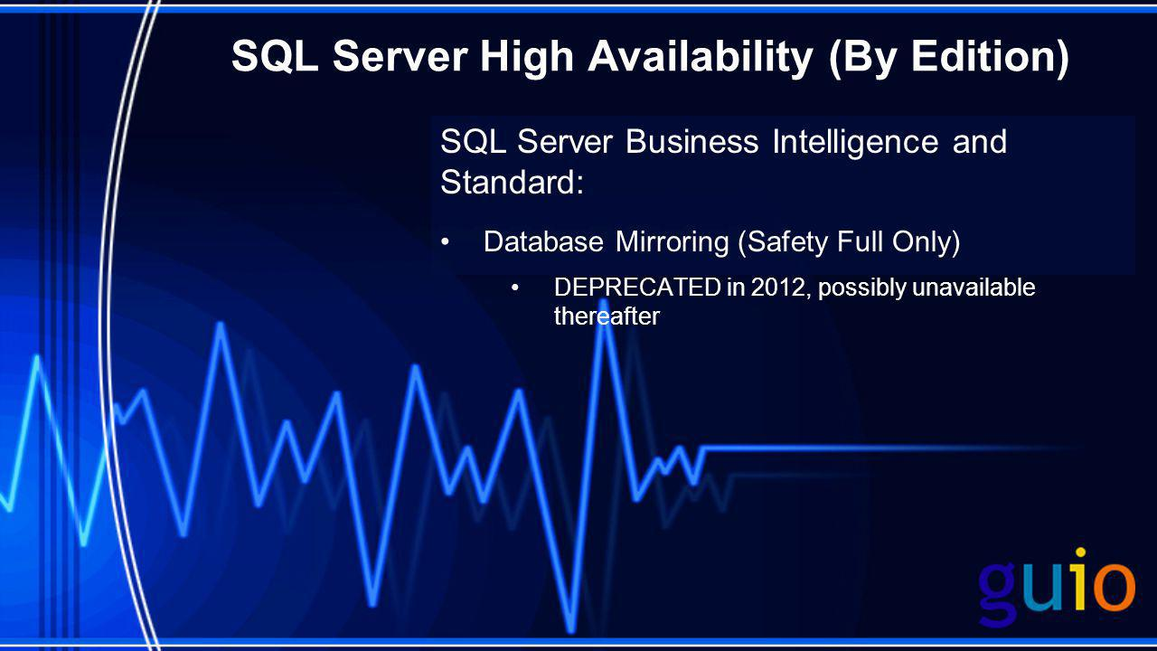 SQL Server High Availability (By Edition) SQL Server Business Intelligence and Standard: Database Mirroring (Safety Full Only) DEPRECATED in 2012, pos