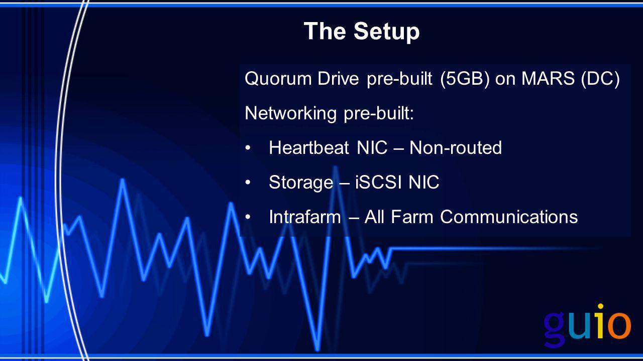 The Setup Quorum Drive pre-built (5GB) on MARS (DC) Networking pre-built: Heartbeat NIC – Non-routed Storage – iSCSI NIC Intrafarm – All Farm Communic