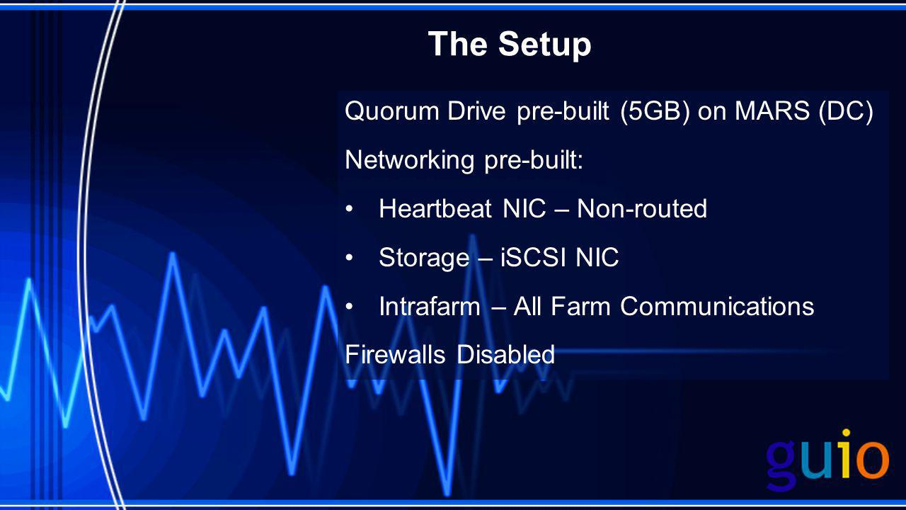 The Setup Quorum Drive pre-built (5GB) on MARS (DC) Networking pre-built: Heartbeat NIC – Non-routed Storage – iSCSI NIC Intrafarm – All Farm Communications Firewalls Disabled