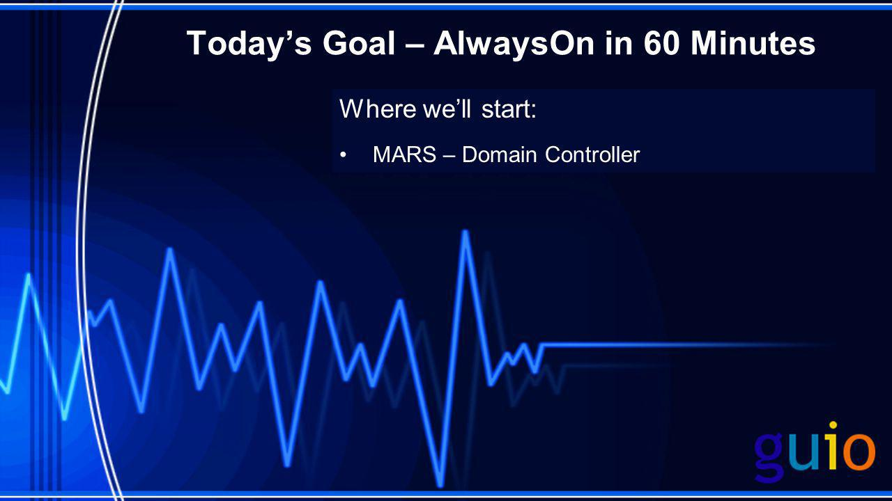 Today's Goal – AlwaysOn in 60 Minutes Where we'll start: MARS – Domain Controller