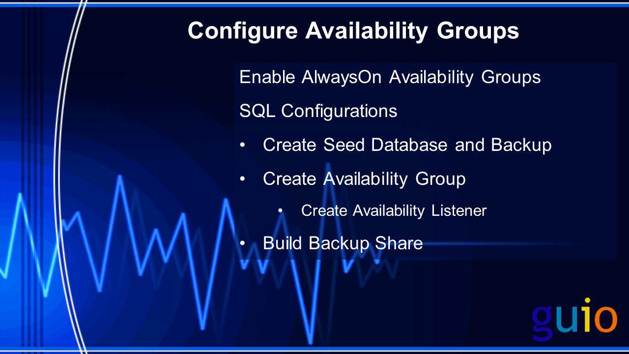 Configure Availability Groups Enable AlwaysOn Availability Groups SQL Configurations Create Seed Database and Backup Create Availability Group Create Availability Listener Build Backup Share