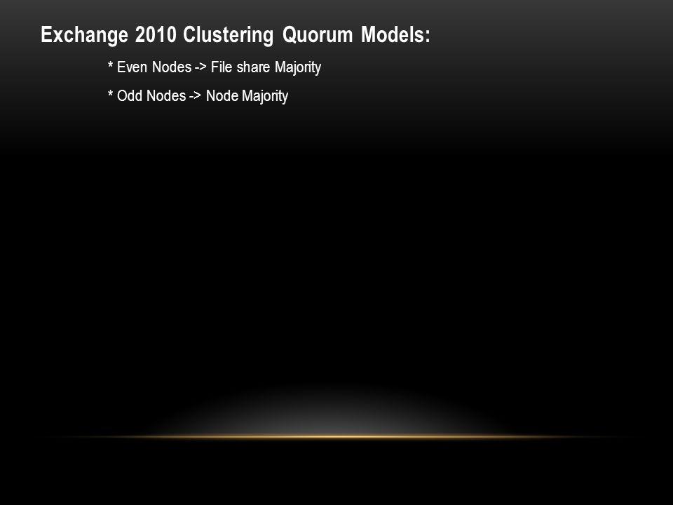 Exchange 2010 Clustering Quorum Models: * Even Nodes -> File share Majority * Odd Nodes -> Node Majority