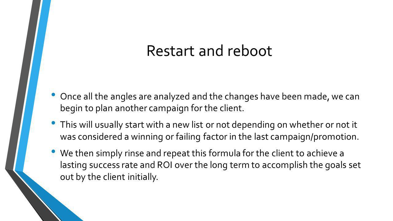 Restart and reboot Once all the angles are analyzed and the changes have been made, we can begin to plan another campaign for the client. This will us