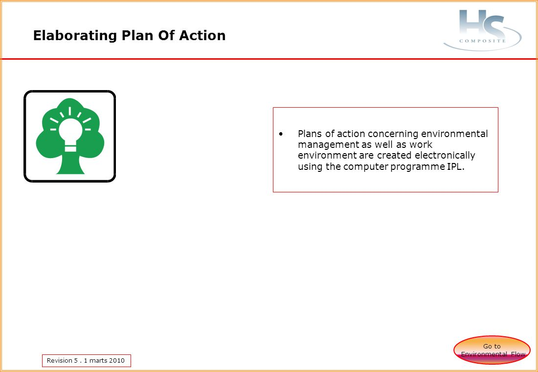 Revision 5. 1 marts 2010 Elaborating Plan Of Action Go to Environmental Flow Plans of action concerning environmental management as well as work envir