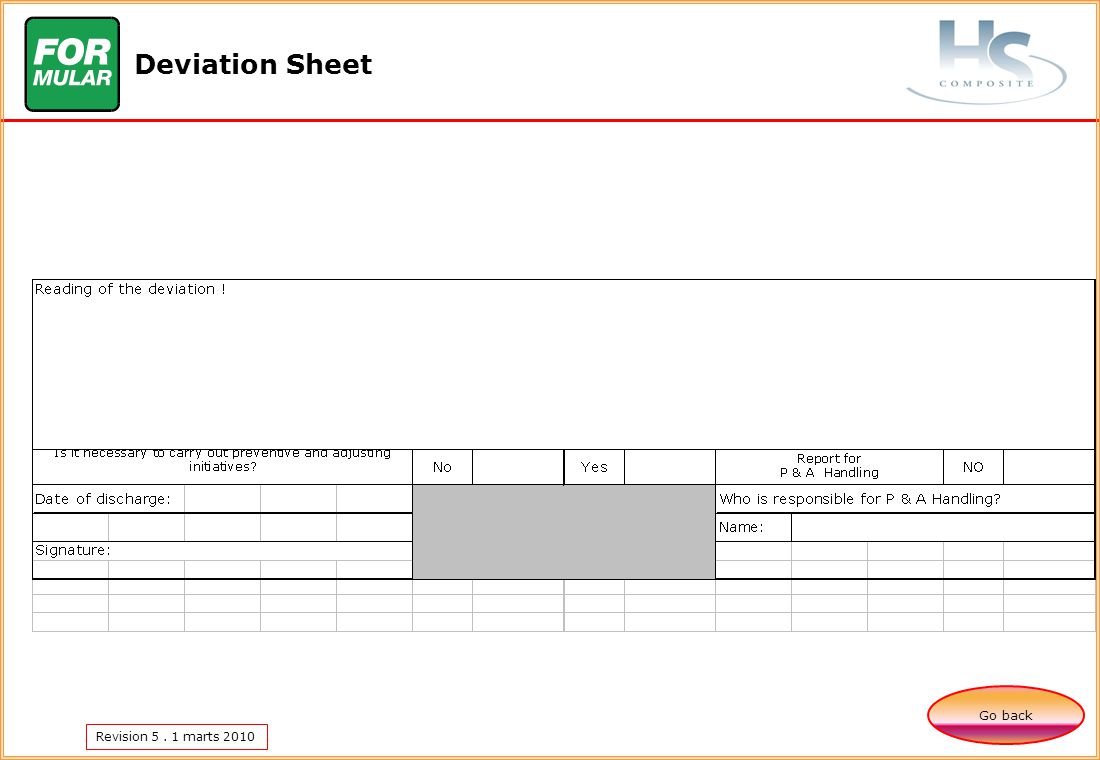 Revision 5. 1 marts 2010 Deviation Sheet Go back