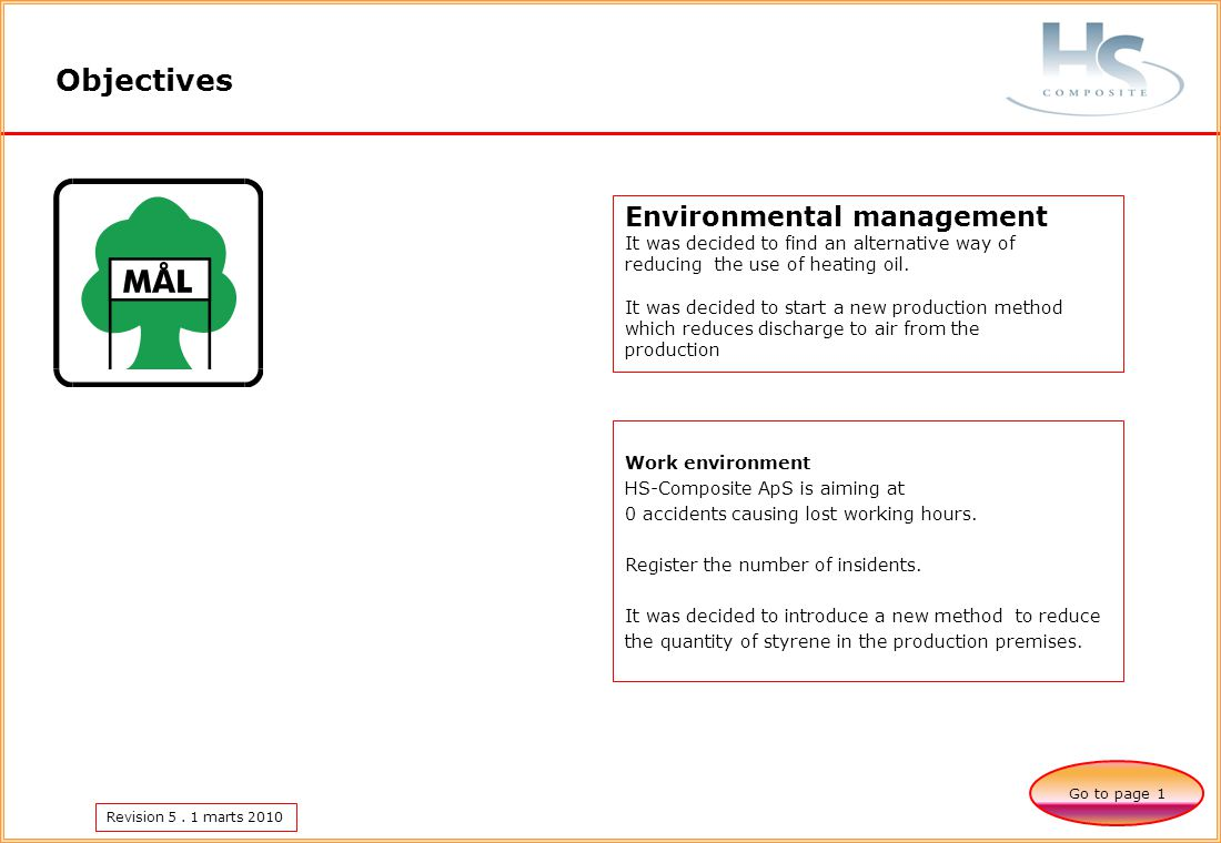 Revision 5. 1 marts 2010 Objectives Go to page 1 Environmental management It was decided to find an alternative way of reducing the use of heating oil