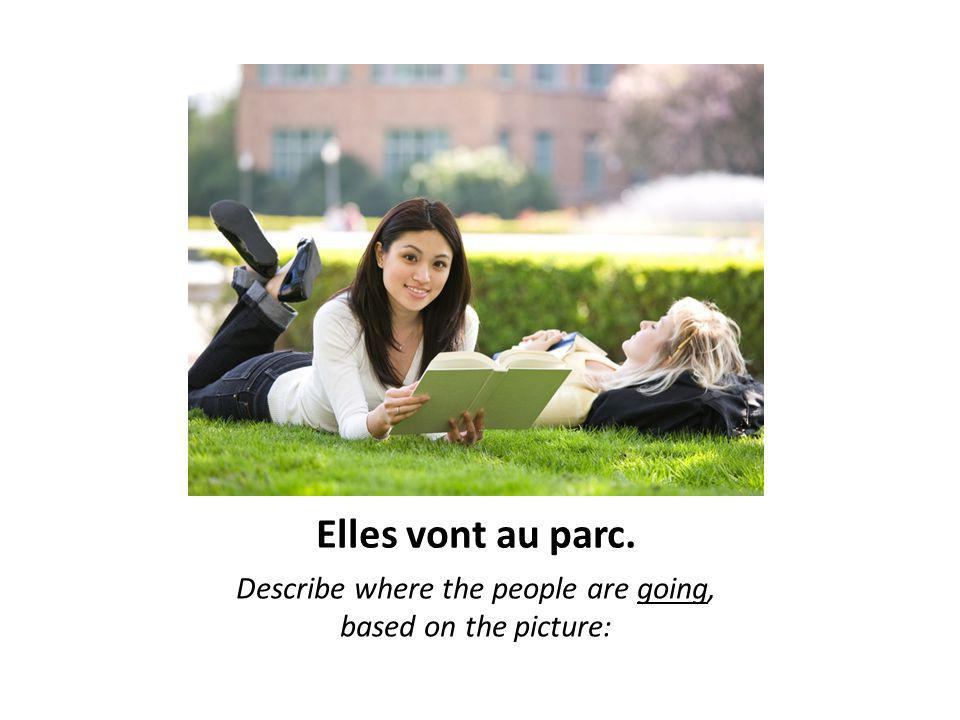 Elles vont au parc. Describe where the people are going, based on the picture: