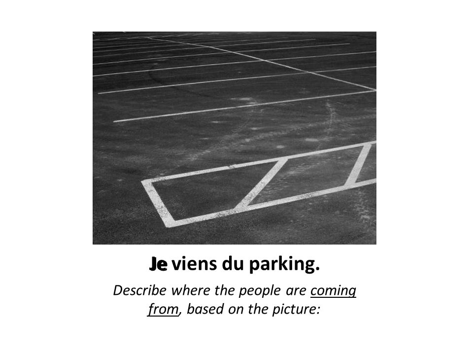 Je viens du parking. Describe where the people are coming from, based on the picture: Je
