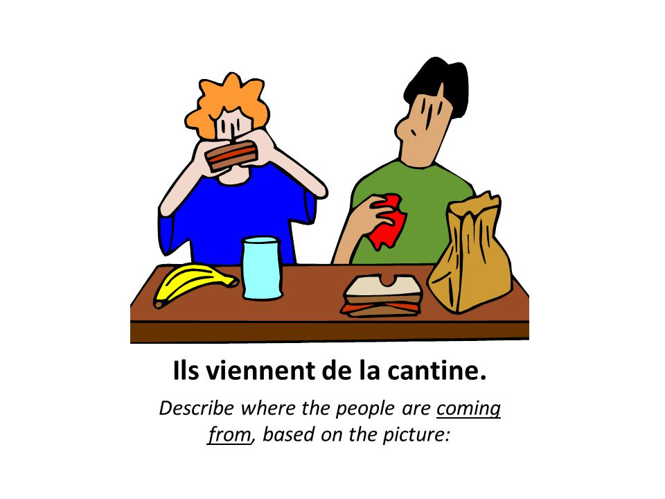 Ils viennent de la cantine. Describe where the people are coming from, based on the picture: