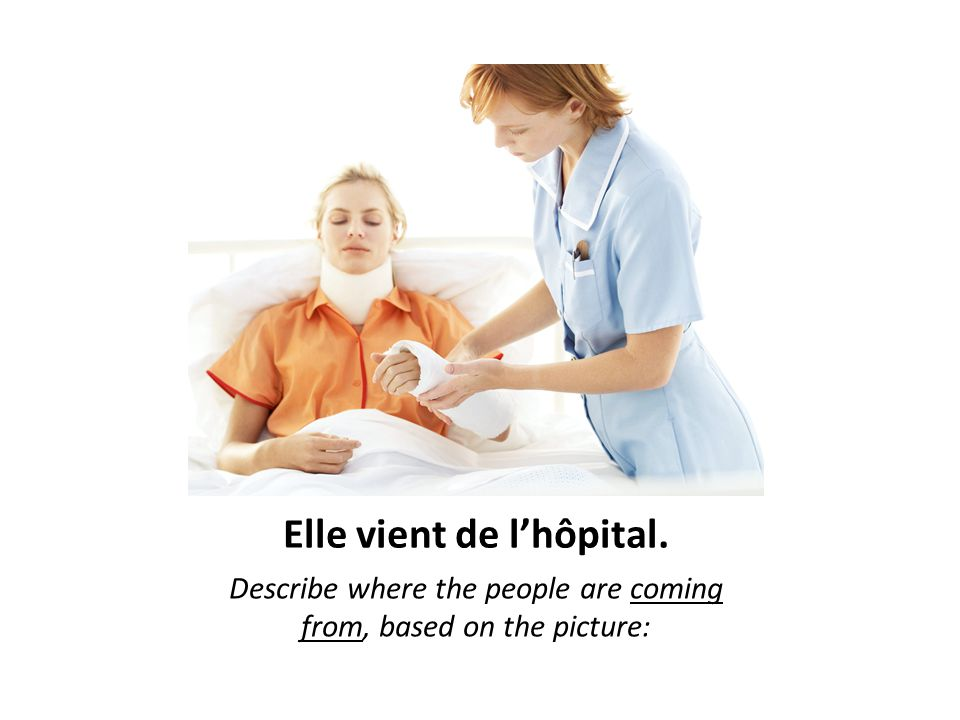 Elle vient de l'hôpital. Describe where the people are coming from, based on the picture: