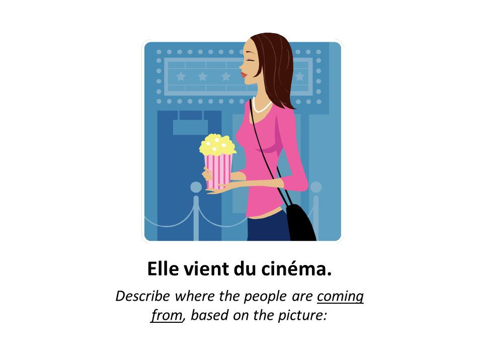 Elle vient du cinéma. Describe where the people are coming from, based on the picture: