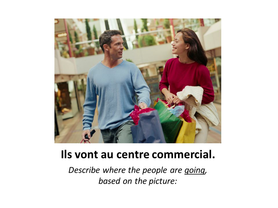 Ils vont au centre commercial. Describe where the people are going, based on the picture: