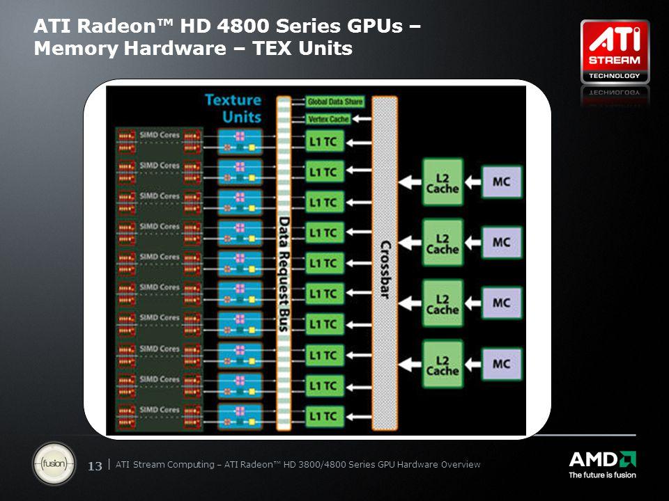 | ATI Stream Computing Update | Confidential 13 | ATI Stream Computing – ATI Radeon™ HD 3800/4800 Series GPU Hardware Overview ATI Radeon™ HD 4800 Ser