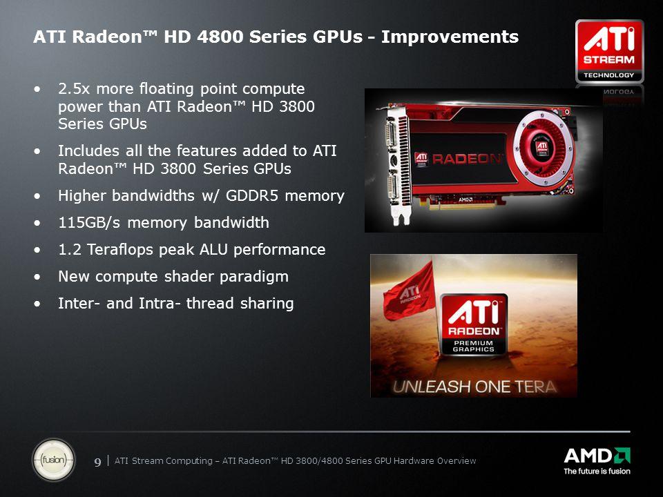 | ATI Stream Computing Update | Confidential 99 | ATI Stream Computing – ATI Radeon™ HD 3800/4800 Series GPU Hardware Overview ATI Radeon™ HD 4800 Ser