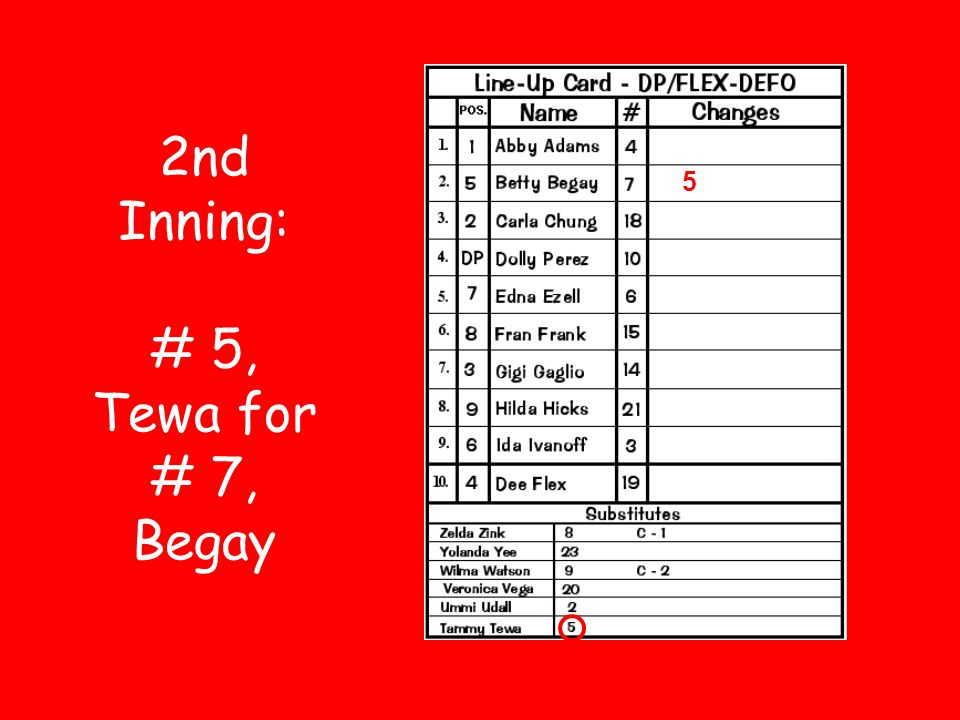 2nd Inning: # 5, Tewa for # 7, Begay 5