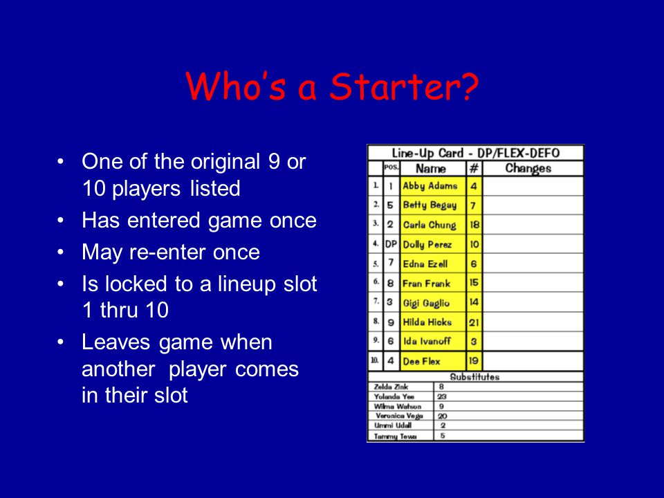 Who's a Starter? One of the original 9 or 10 players listed Has entered game once May re-enter once Is locked to a lineup slot 1 thru 10 Leaves game w